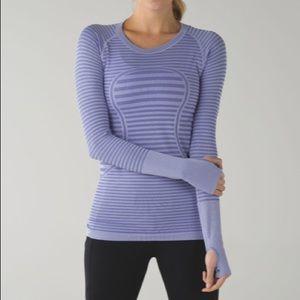 Lululemon swifts tech long sleeve stripe top